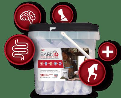 bucket of barniq with health icons