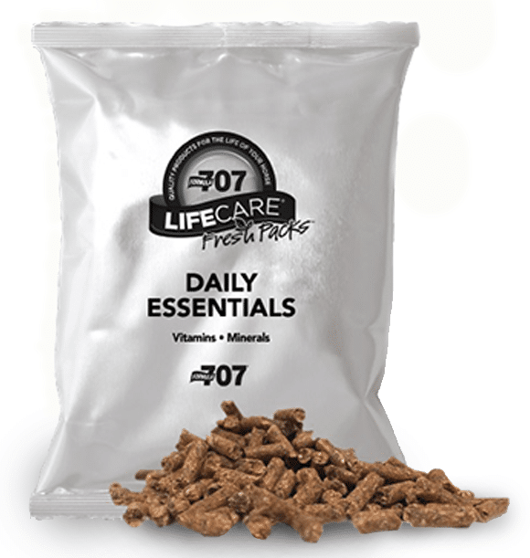 fresh pack of daily essentials with pellets in the front
