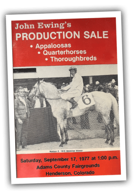 John Ewing's Production Sale Booklet cover from 1977