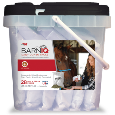 bucket of BarnIQ fresh packs with daily essentials