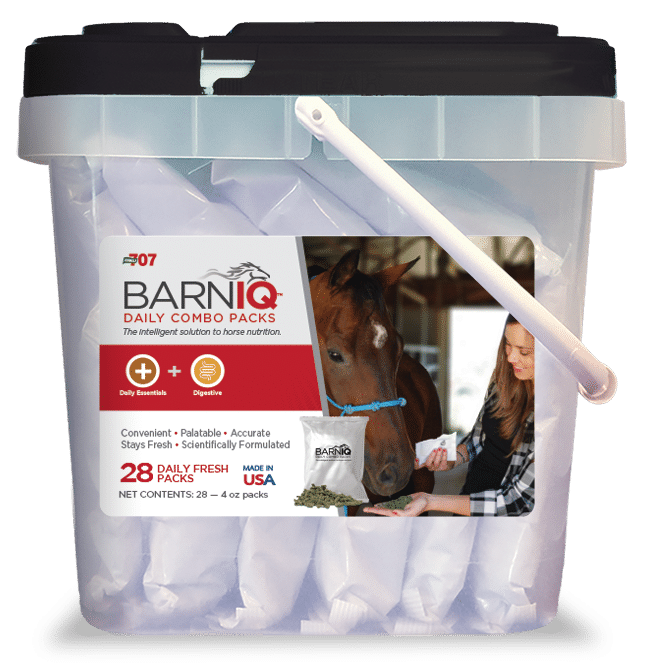 bucket of BarnIQ fresh packs with daily essentials and digestive health