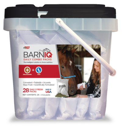 bucket of BarnIQ fresh packs with daily essentials and hoof health