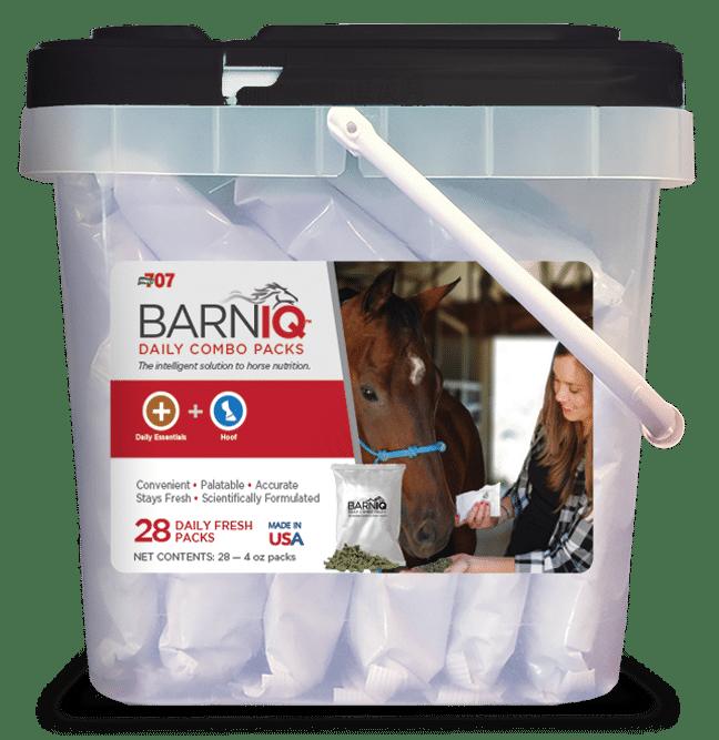 bucket of BarnIQ fresh packs with daily essentials and hoof health