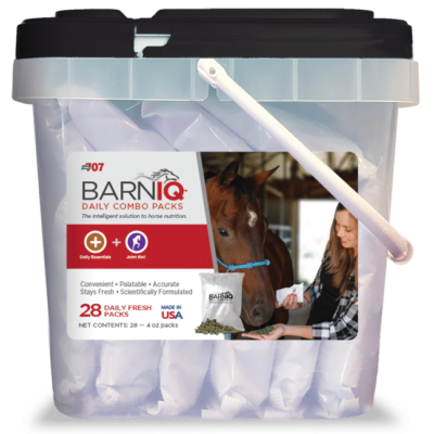 bucket of BarnIQ fresh packs with daily essentials and joint