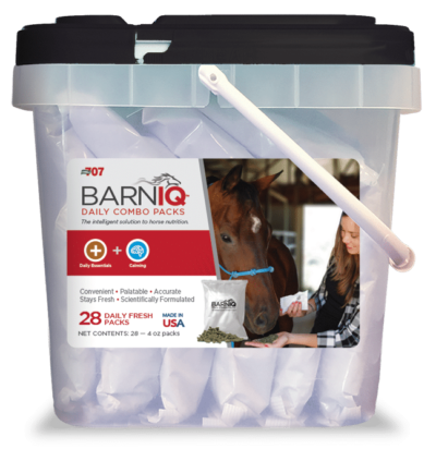 bucket of BarnIQ fresh packs with daily essentials and calming