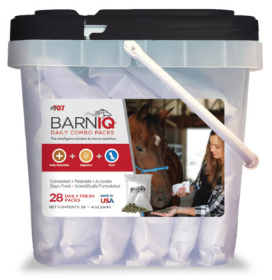bucket of BarnIQ fresh packs with daily essentials, digestive health, and hoof health