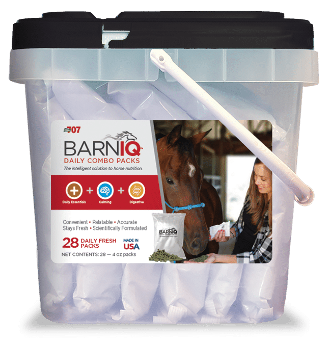 bucket of BarnIQ fresh packs with daily essentials, calming, and digestive health