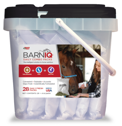 bucket of BarnIQ fresh packs with daily essentials, hoof health, and joint