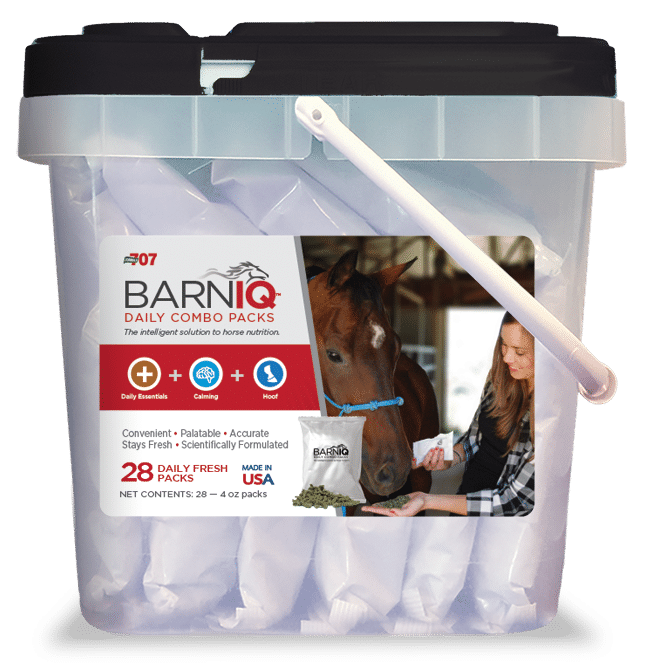 bucket of BarnIQ fresh packs with daily essentials, calming, and hoof health