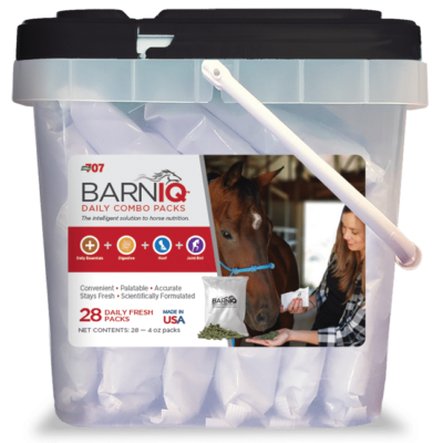 bucket of BarnIQ fresh packs with daily essentials, digestive health,