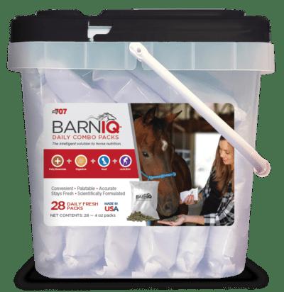 bucket of BarnIQ fresh packs with daily essentials, digestive health,