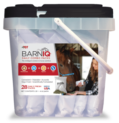 bucket of BarnIQ fresh packs with daily essentials, calming, digestive health, and hoof health