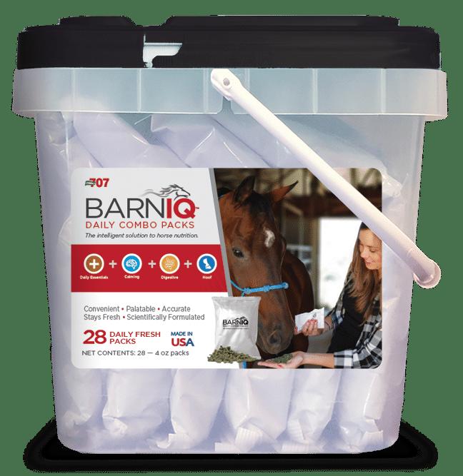 bucket of BarnIQ fresh packs with daily essentials, calming, digestive health, and hoof health