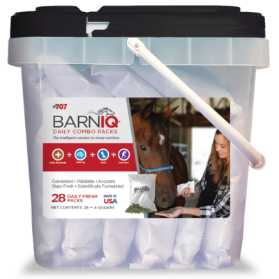 bucket of BarnIQ fresh packs with daily essentials, calming, hoof health, joint