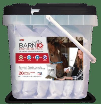 bucket of BarnIQ fresh packs with daily essentials, calming, hoof health, joint