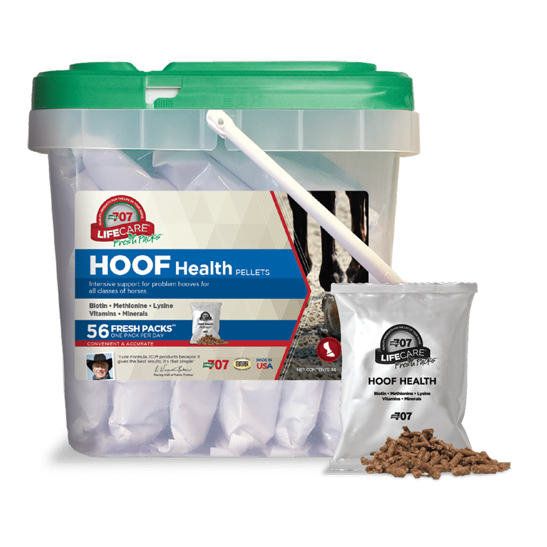 fresh pack in front of a bucket of Hoof Health