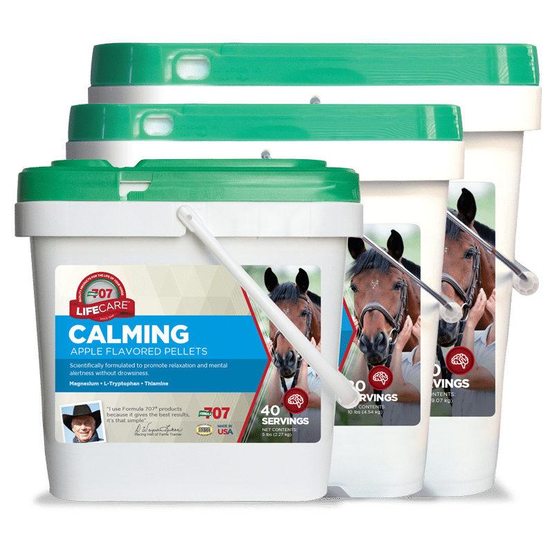 three differently sized buckets of Calming pellets