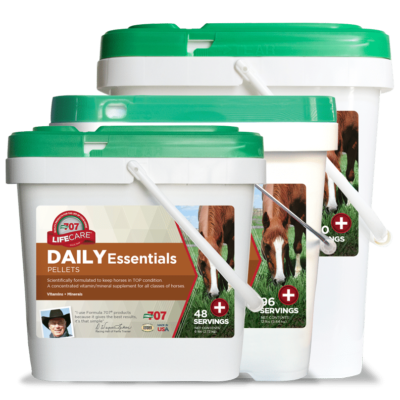 three differently sized buckets of Daily Essentials pellets