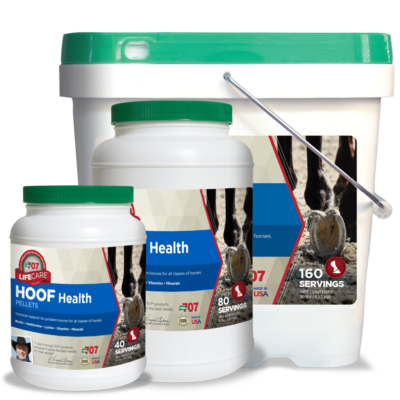 three differently sized containers of hoof health pellets