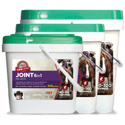 three differently sized buckets of joint health pellets