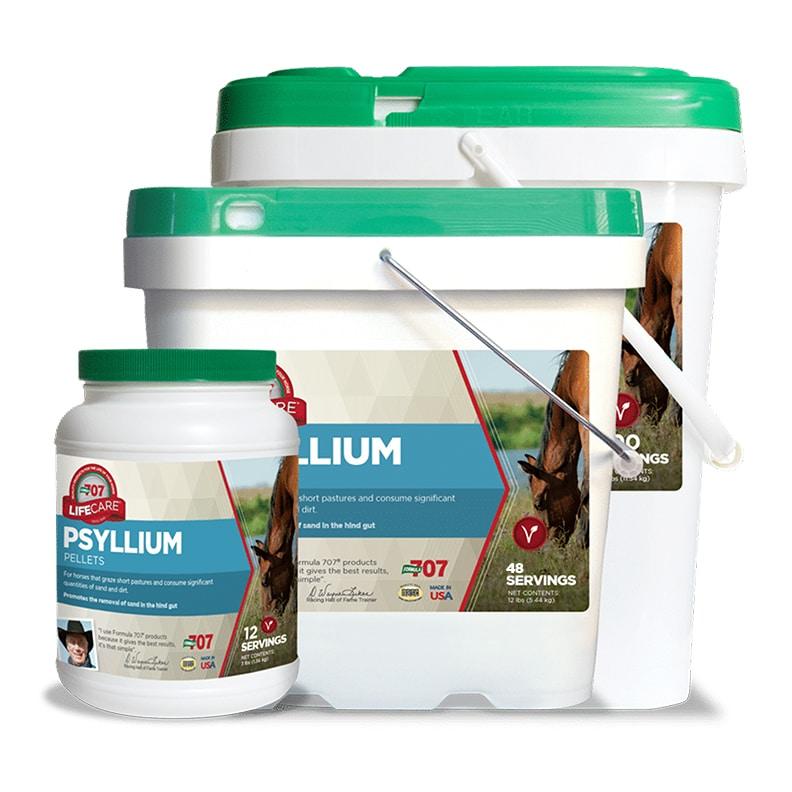 three different sizes of psyllium pellet containers