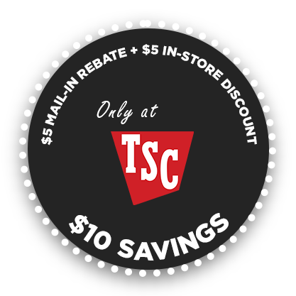 icon that shows you can get a $10 discount at Tractor Supply Company with $5 Rebate and $5 Discount