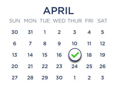 a calendar of April with a checkmark on April 17