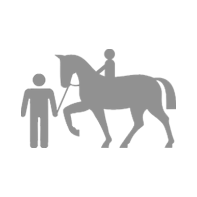 man leading child on lesson horse icon