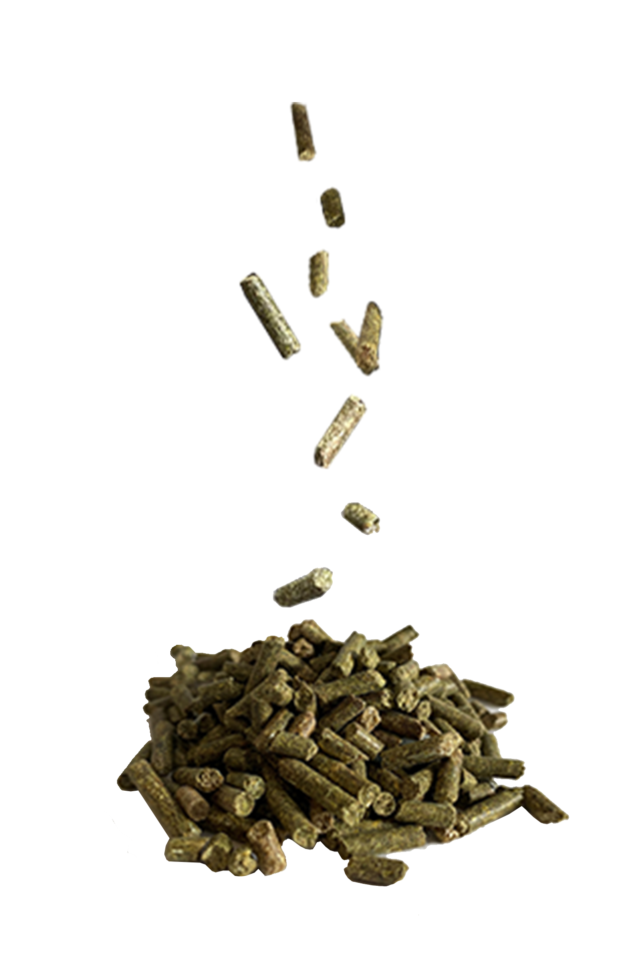 green pellets falling into a pile