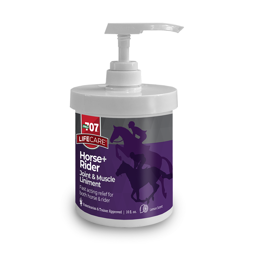 Jar with pump of the Formula 707 Horse and Rider Joint and Muscle Liniment Fast Acting relief for both horse and rider.